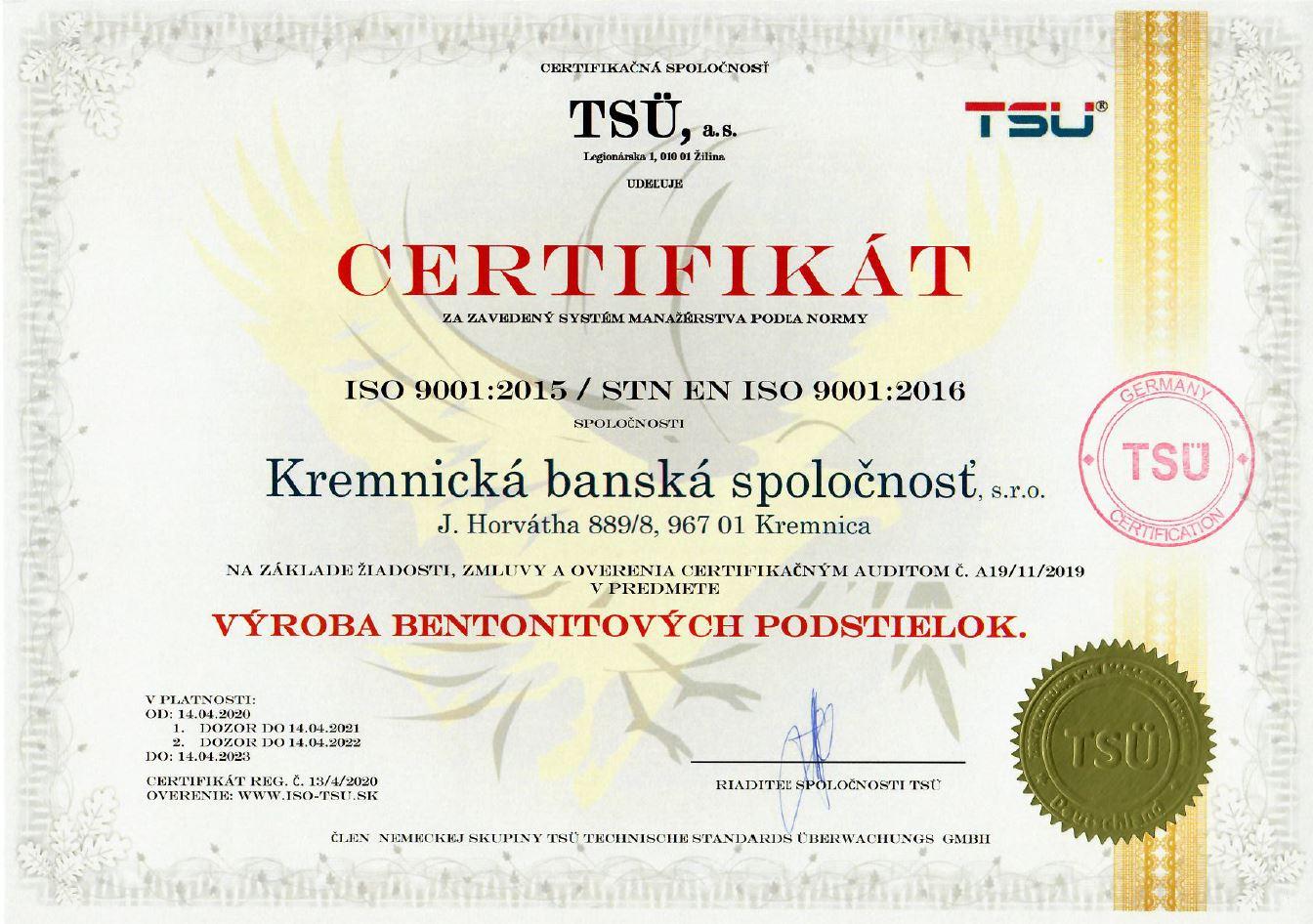 ISO 9001:2015 certifikát kvality